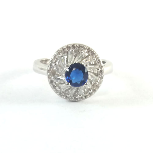 Sapphire Baguette Silver Ring