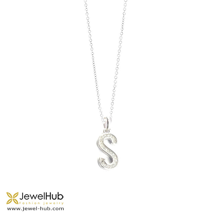 "Letter "" S "" silver necklace, Necklace - JewelHub jewelry"