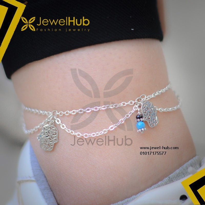 Multilayer hamsa hands anklet