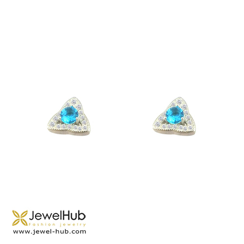Triangle Cz Earrings, Earring - JewelHub jewelry