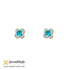 Flower CZ Silver Earrings