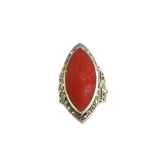 Evil Red Jade Boho Ring