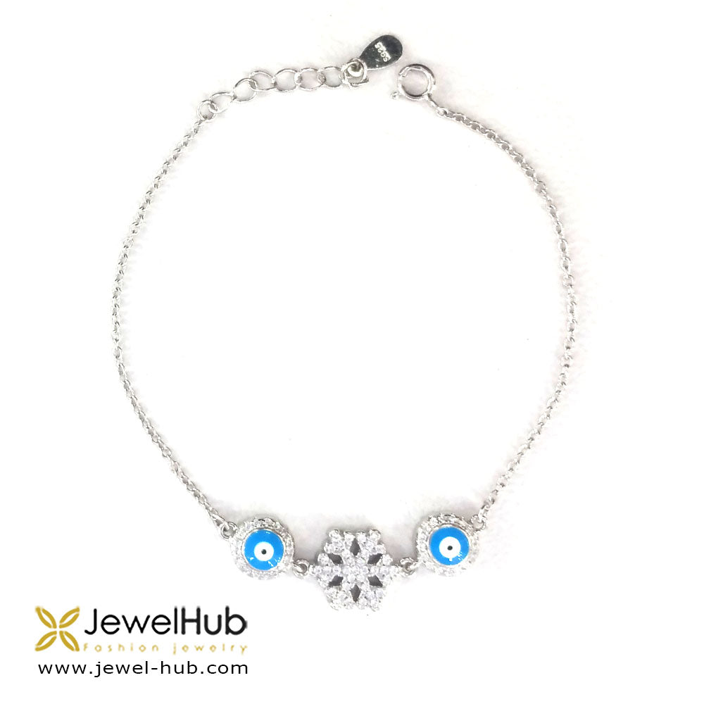 Frozen Snow Flake Eyes CZ Bracelet