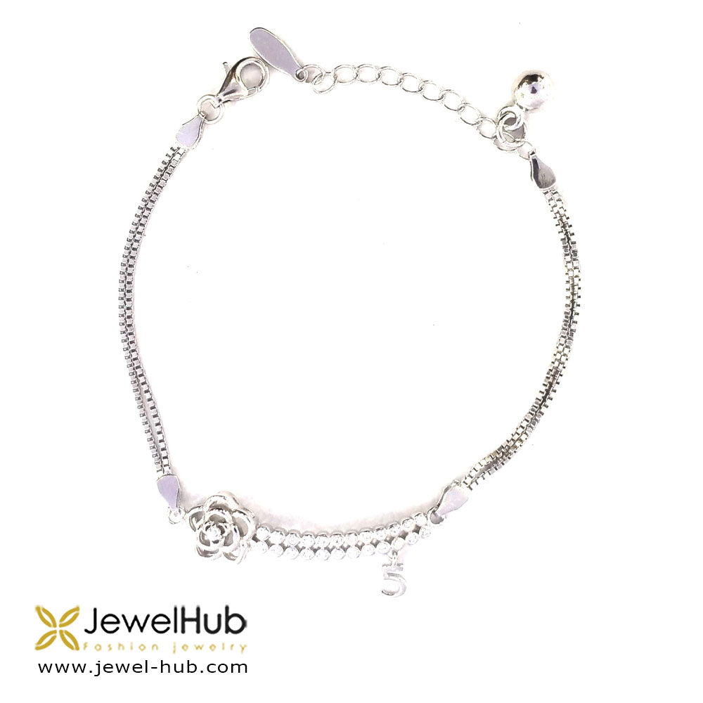 Flower With Cubic Zirconia Bracelet