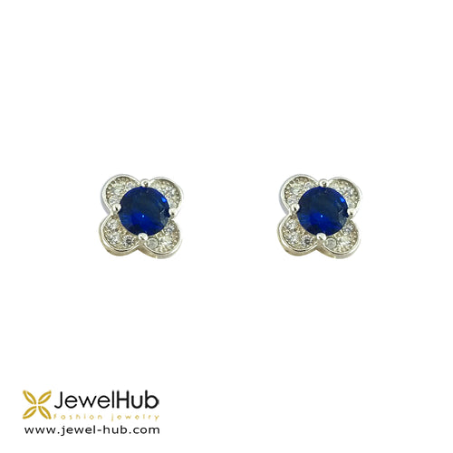 Flower CZ Silver Earrings, Earring - JewelHub jewelry