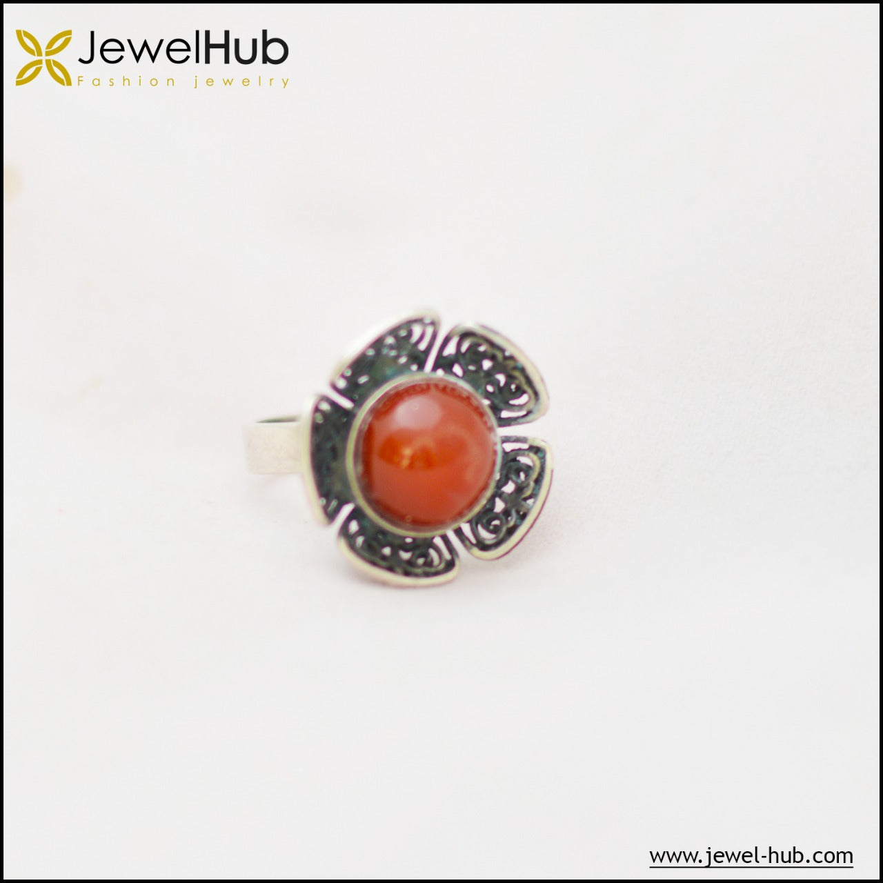Agate Flower Silver Ring