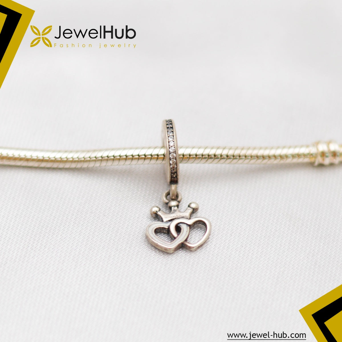 Hearts With Crown Silver Charm