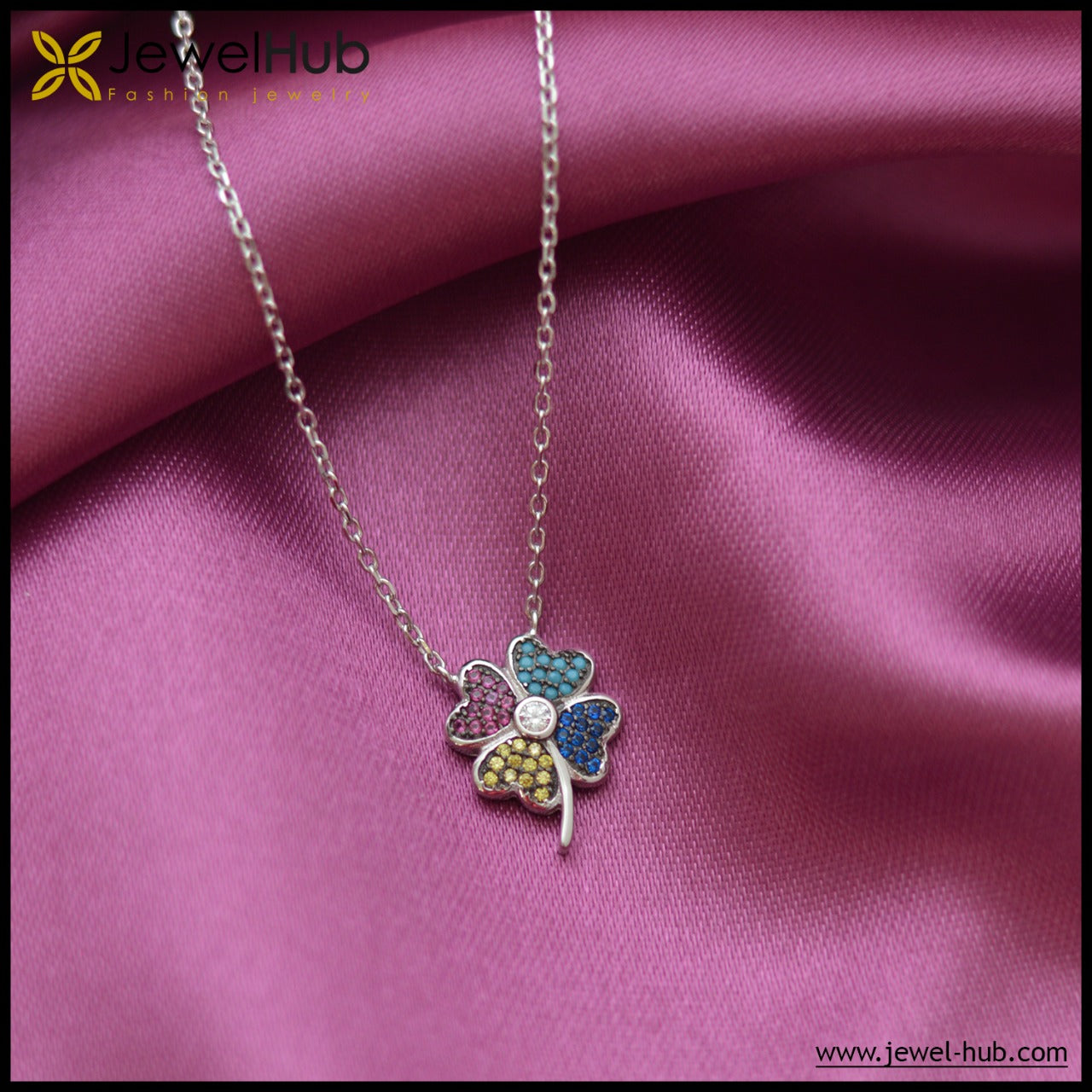 Colorful Flower Silver Necklace