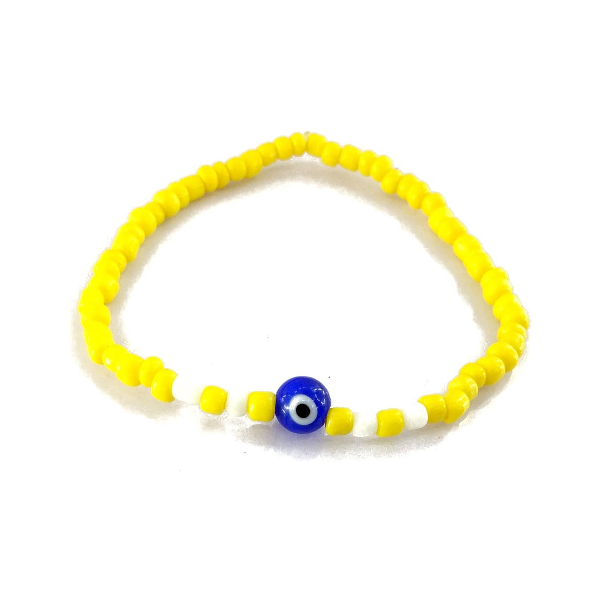 Blue Evil Eye Accessories Yellow & White Beads Bracelet, Bracelets - JewelHub jewelry
