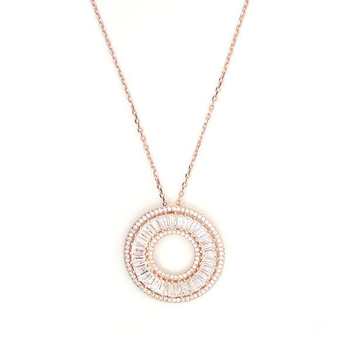 Rose gold plated sterling silver 925 necklace matches perfectly with sparkling Cubic Zirconia stones as gifts.