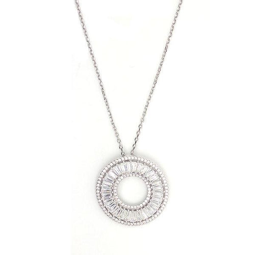 Sterling silver 925 necklace matches perfectly with sparkling Cubic Zirconia stones.