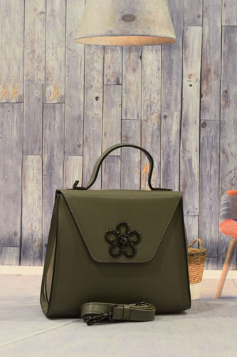 Dark Green Flower Handbag