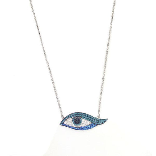 A sterling silver 925 necklace with Nano Turquoise, Sapphire CZ stones embedded in an eye.