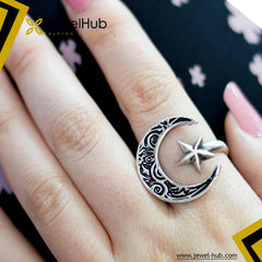 Crescent & Star Silver Ring