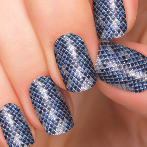 Shining Diamond black blue nail strips.