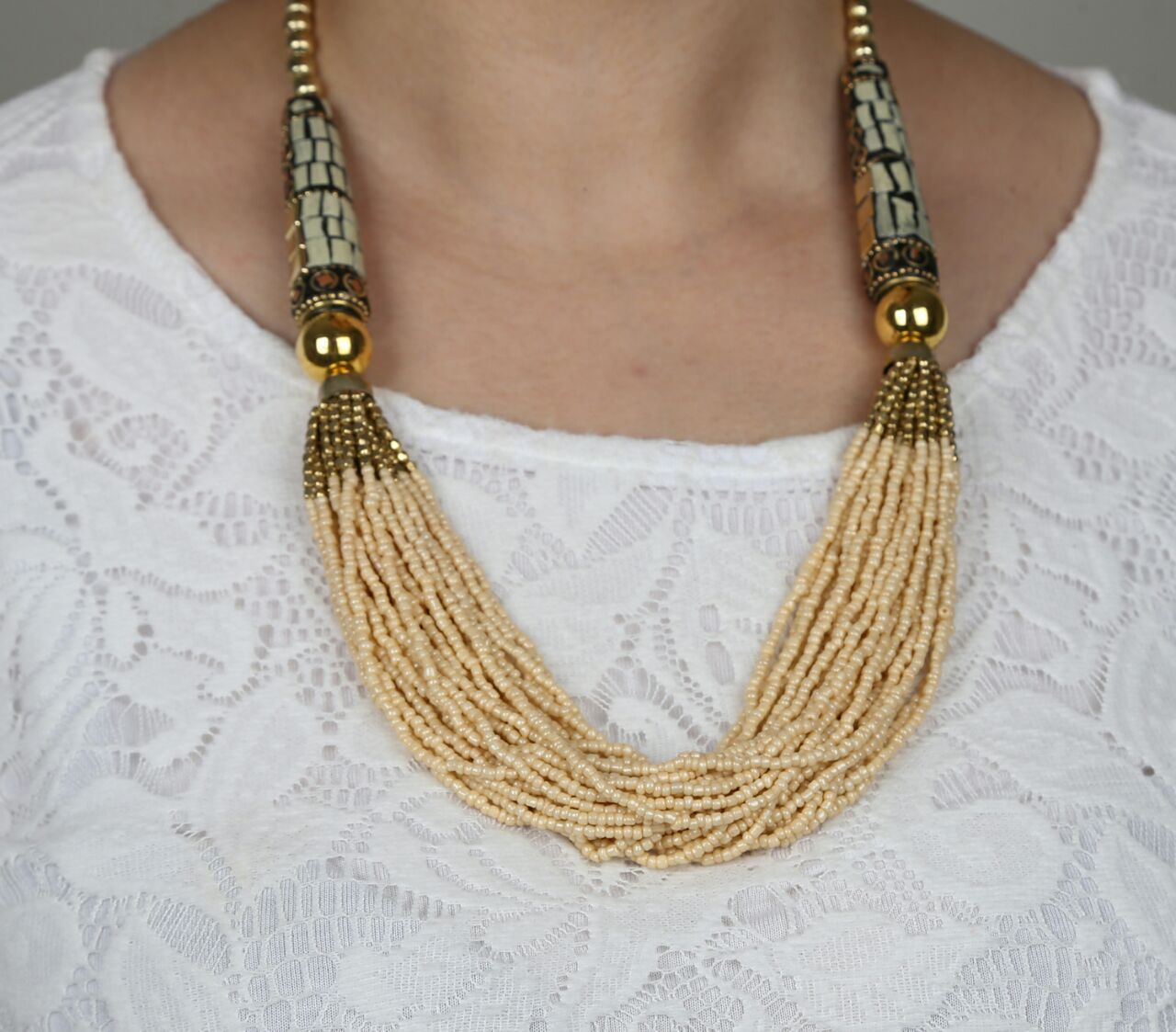 Handmade Statement Boho Indian Style Necklace - Beige
