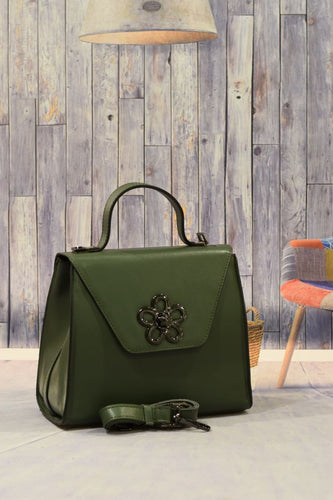 Green Flower Handbag