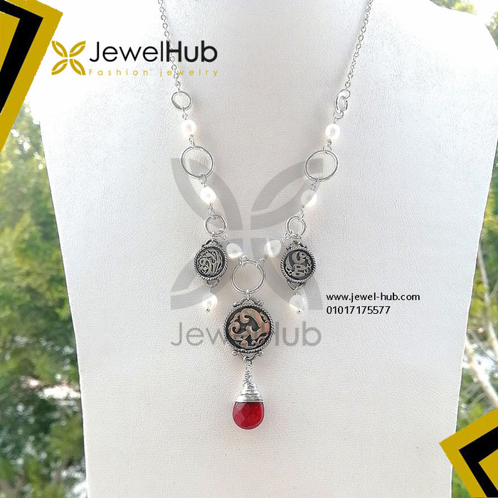 Arabian circles pearls & ruby necklace