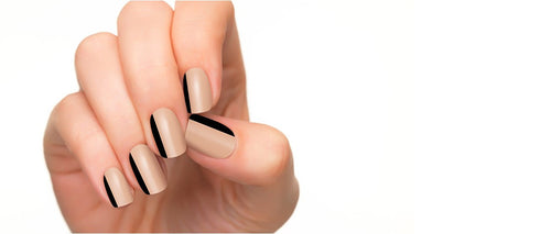 Nail polish strips with black strips.