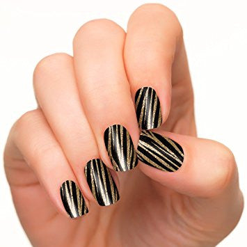 Copper and black strips in nail strips.