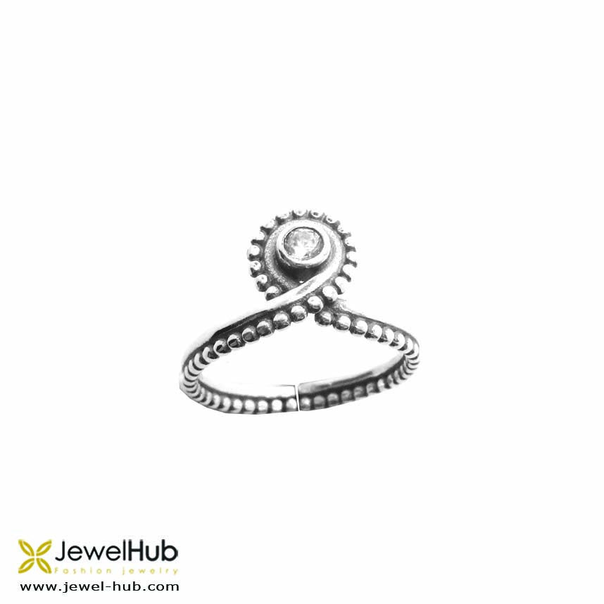 Delicate Boho style ring with an 'eye' which is embedded with twinkling crystals.