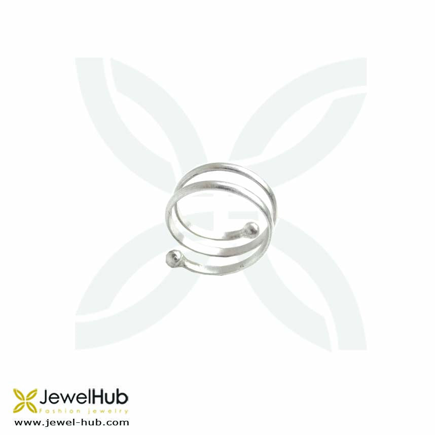 A sterling silver ring with triple loops.