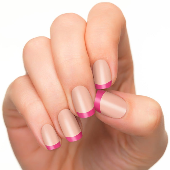 Irresistible pink nail polish strips.