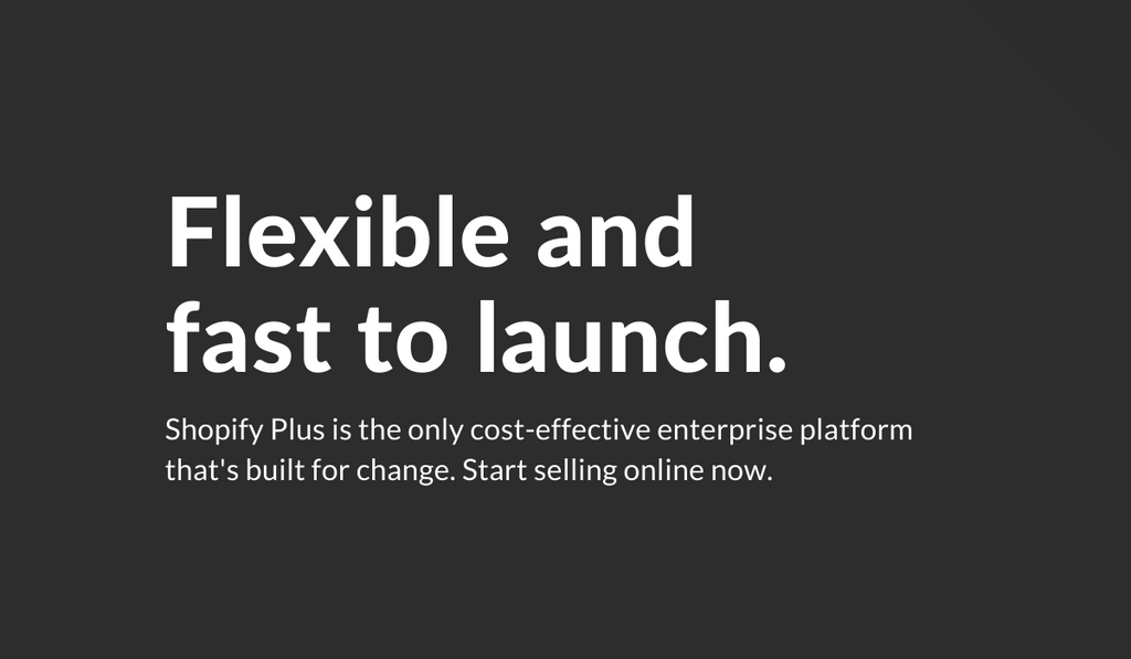 Graphic card reading 'Flexible and fast to launch' in reference to Shopify Plus