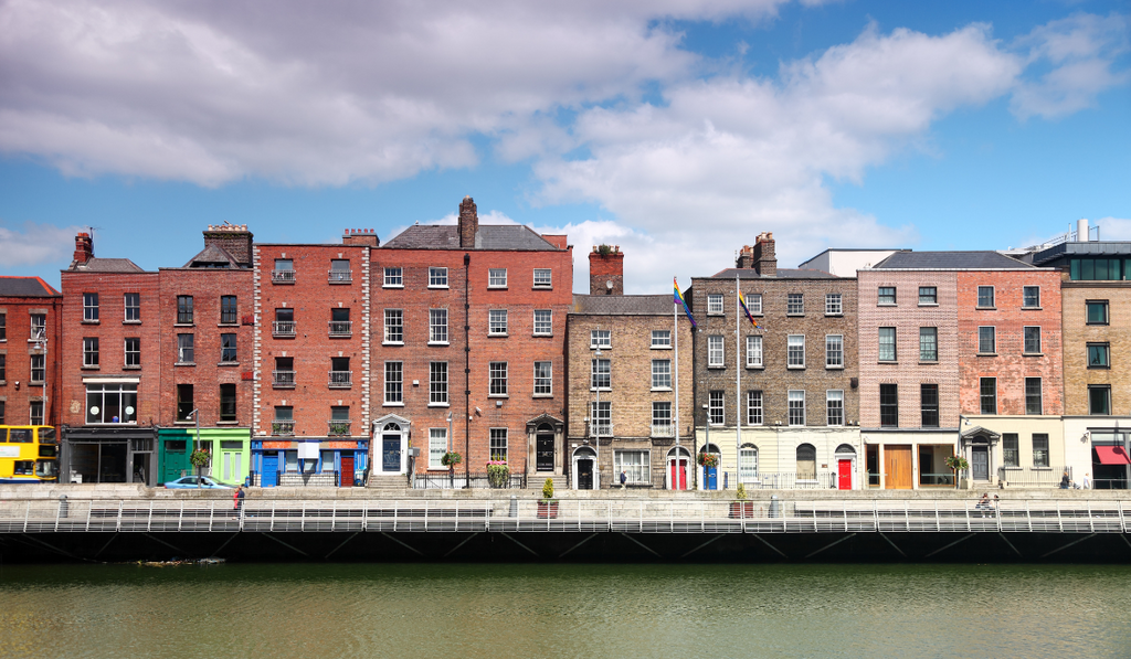 Georgian buildings along the River Liffey in Dublin City Centre