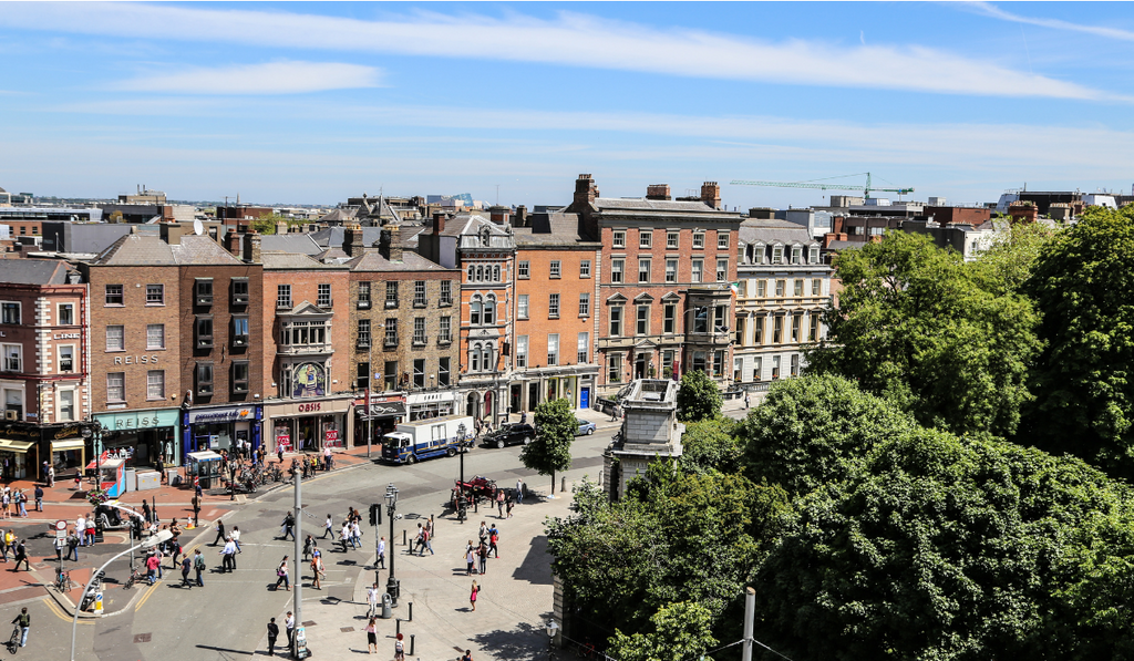Aerial view of top of Grafton Street and St Stephen's Green in Dublin City Centre