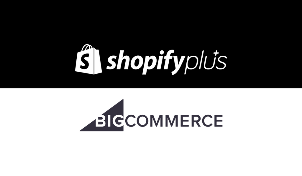 Shopify Plus logo and big commerce logo