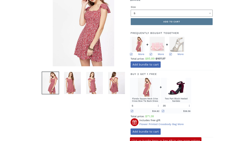 Selly Promotion & Pricing interface showing product of dress and special discounts