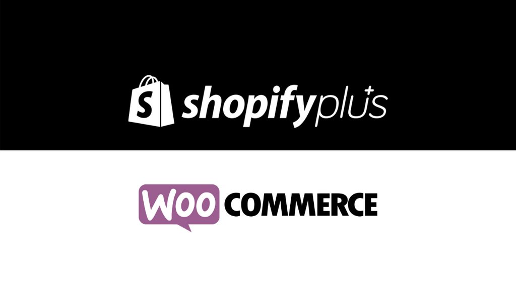 Shopify Plus logo and Woo Commerce logo