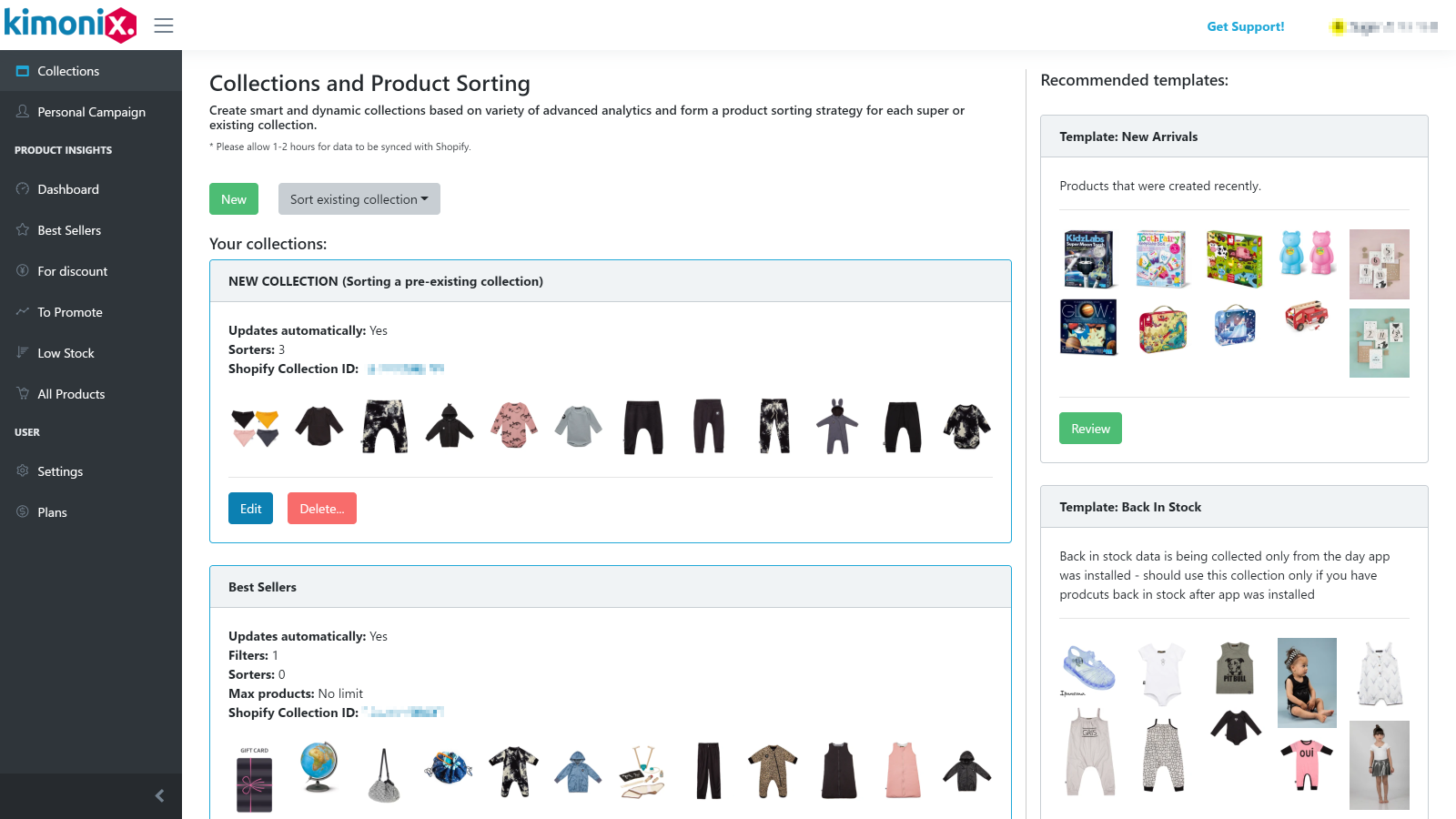 Kimoni Super Collection Sort&Create app on the Shopify App Store: image of interface