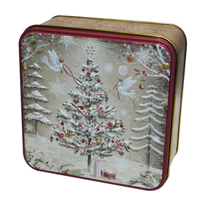 Embossed Christmas Tree with Turtle Doves Tin