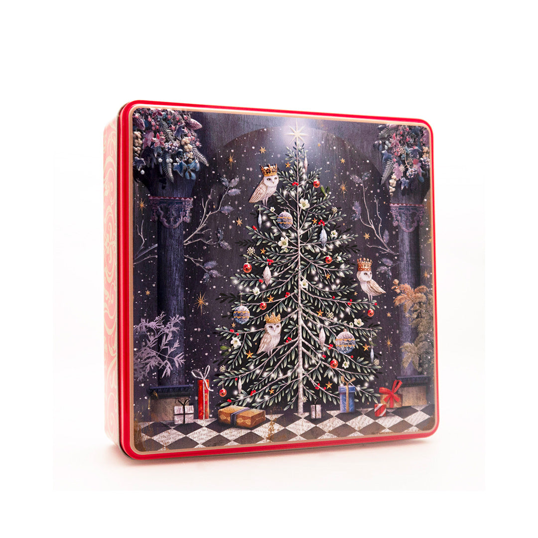 Embossed Decorated Christmas Tree Tin