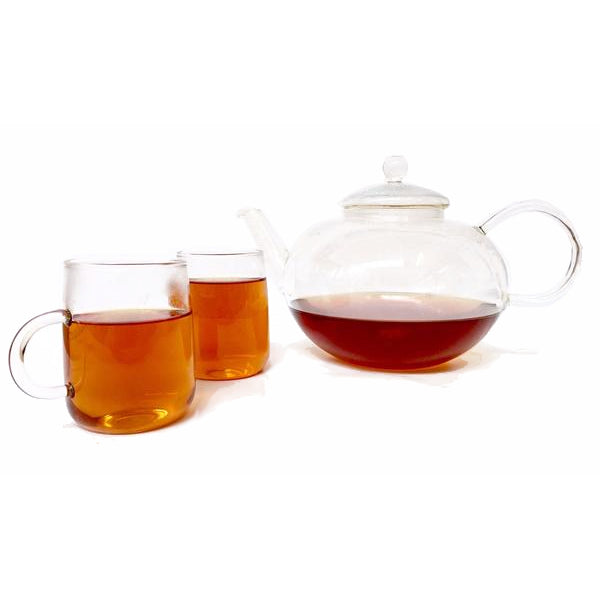 Glass Teapot & 2 x Mug Set