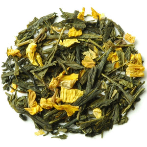 Green Tea Blend - Sencha & Sunflower Blossoms - Angel Peach