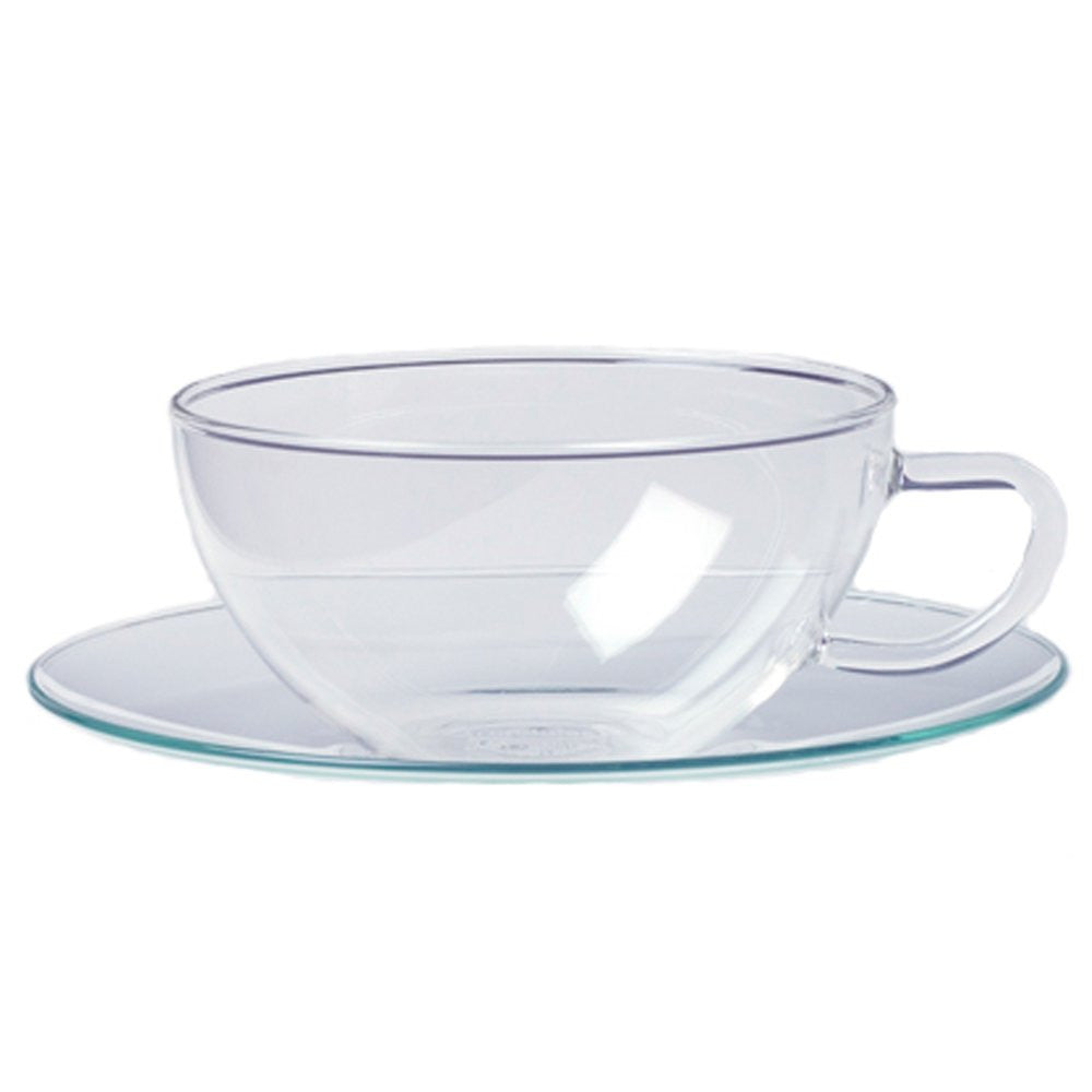 Glass Teacup and Saucer