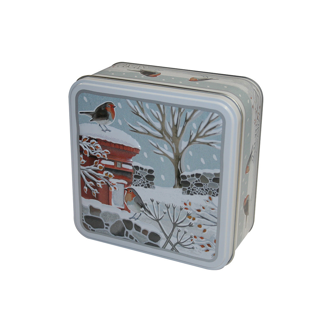 Embossed Robins in Winter Tin