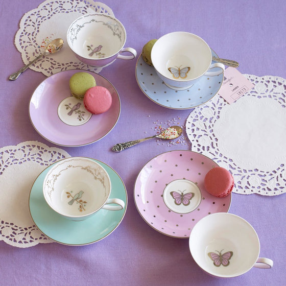 Miss Darcy Butterfly & Bird Teacups