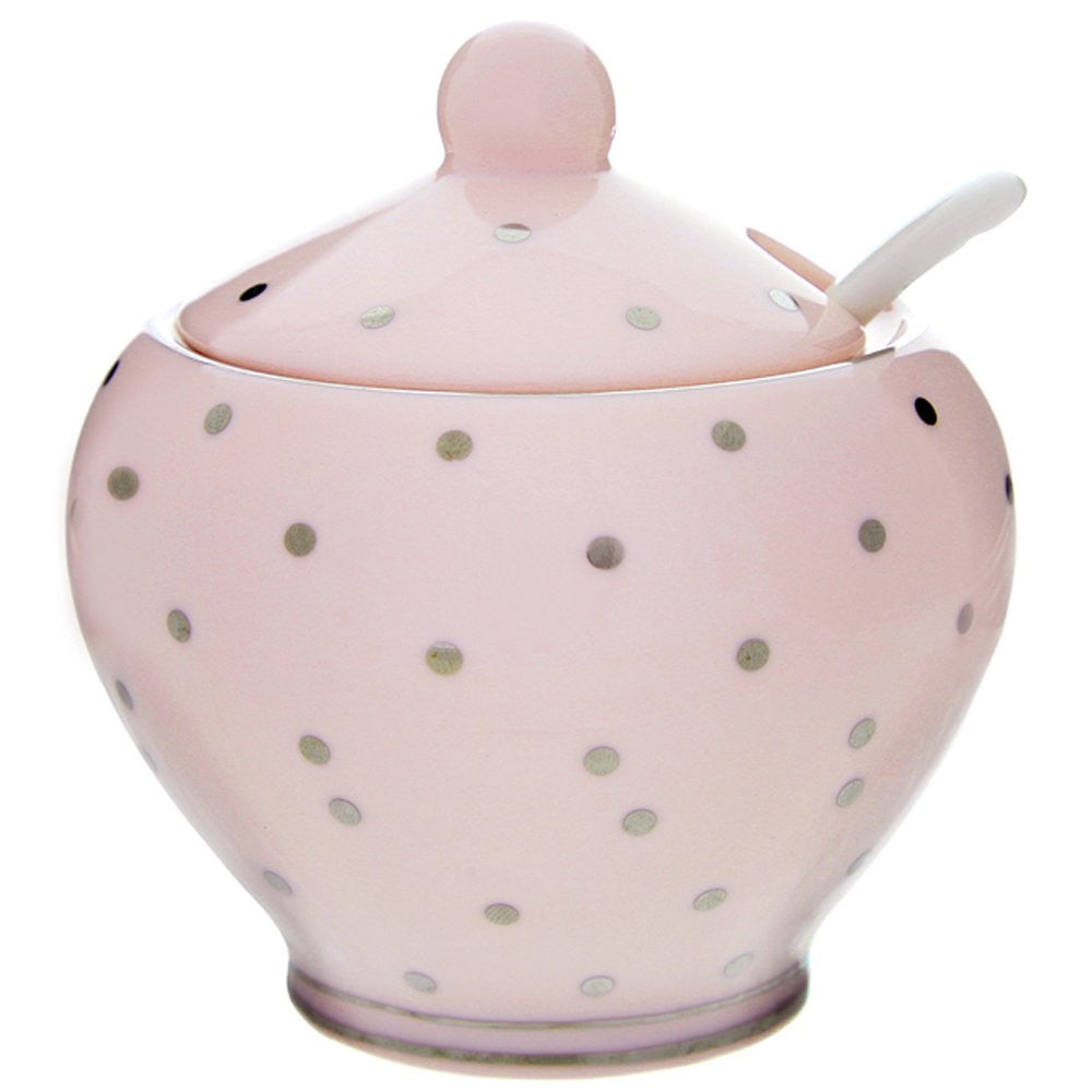 Pink Dotty Sugar Bowl