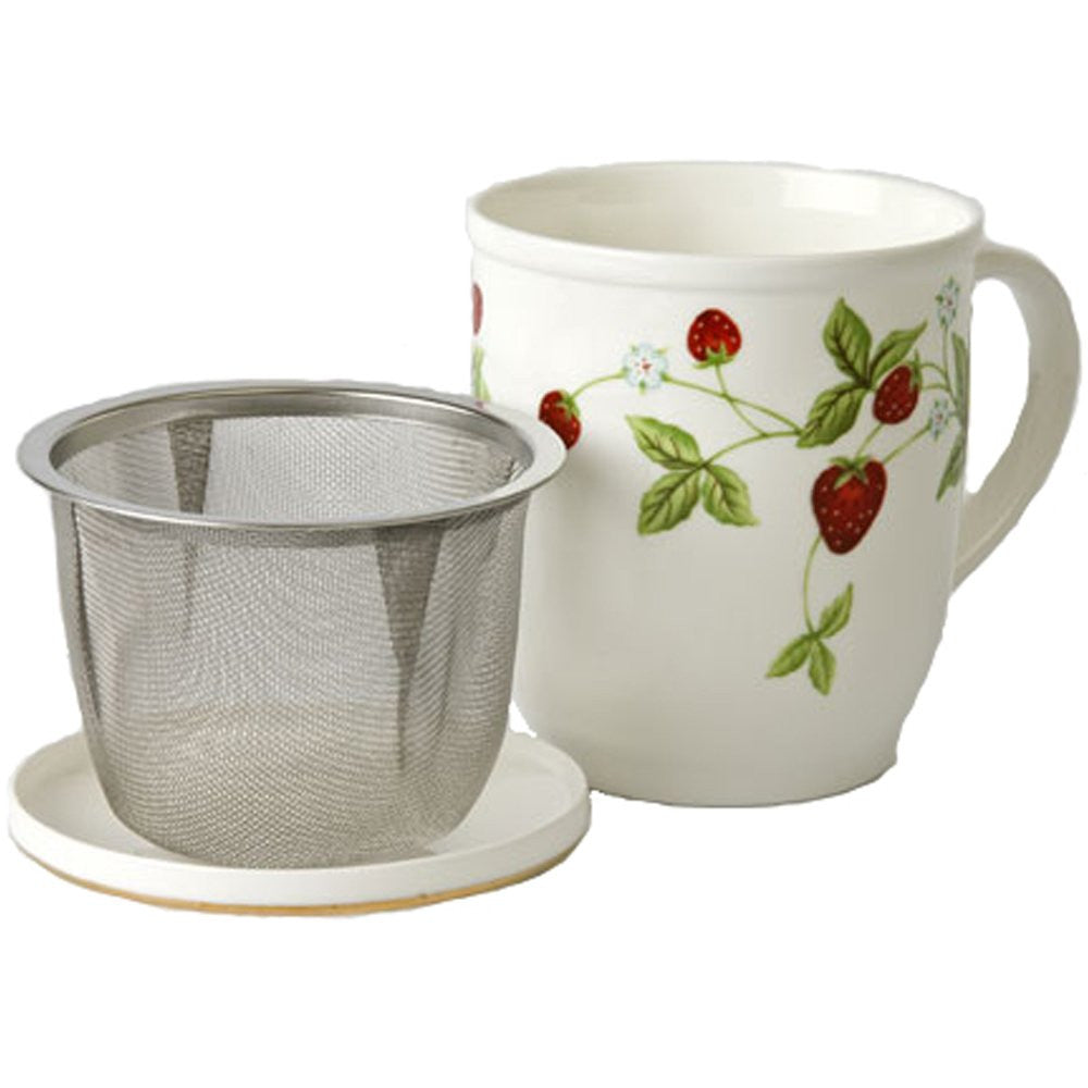 Wild Strawberry Mug with Tea Infuser Basket