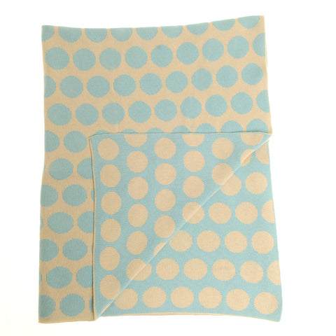 ZIPPY Baby Blanket in Blue and Cream Polkas for Cot and Pram