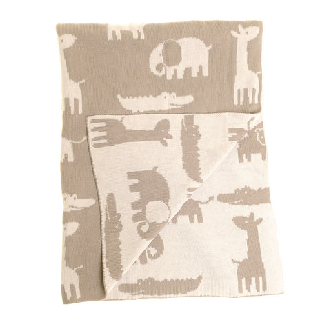 ZIPPY Baby Blanket in Grey and White Animals for Cot and Pram