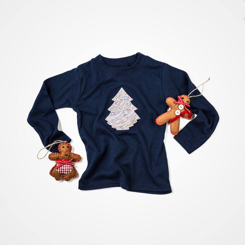 PIP & ROO Long Sleeved Navy Top/Christmas Tree