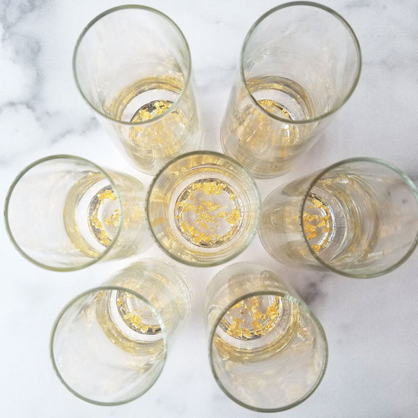 2 Resin + Gold Leaf Champagne Glasses