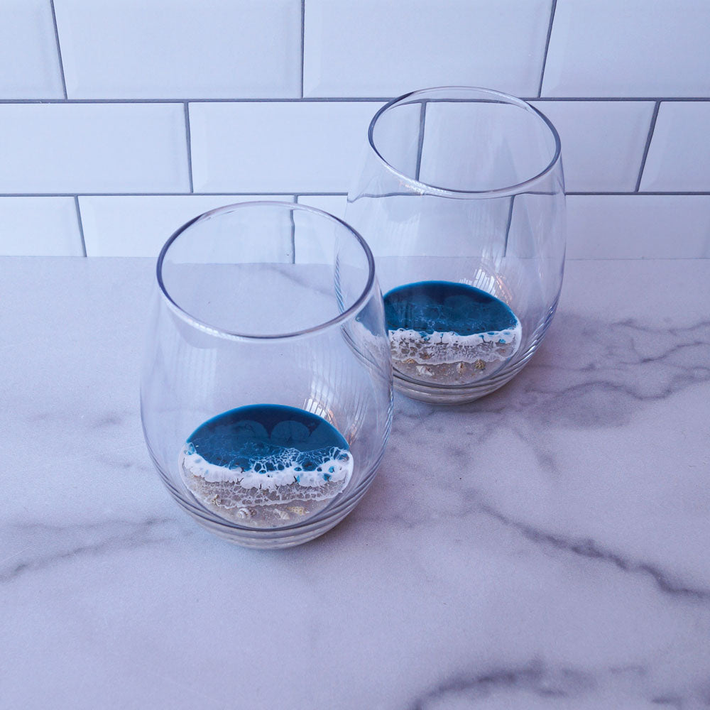 2 Large Resin Wine Glasses - Tidal Teal