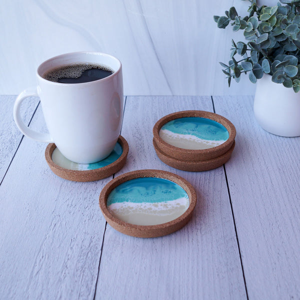 Resin + Cork Coaster Set - Aqua Surf