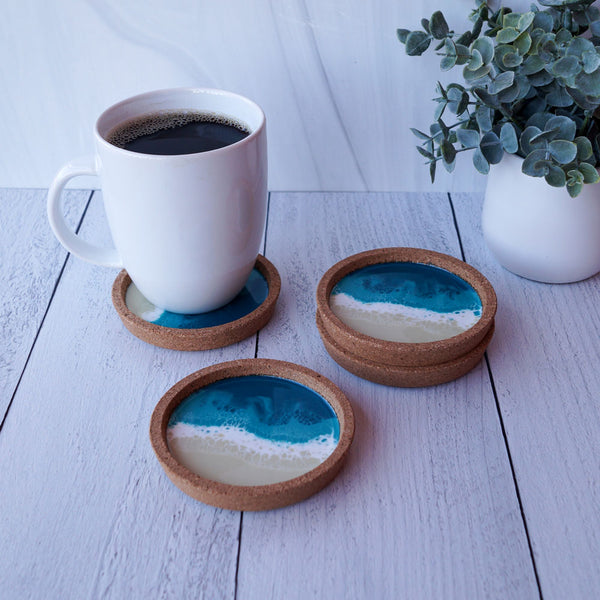 Resin + Cork Coaster Set - Tropical Lagoon